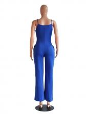 Euro V-Neck Bow Spaghetti Strap Wide Legs Jumpsuits
