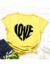 Letter Love Printed Short Sleeve t Shirts