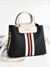 Fashion Contrast Color Letter Decor Handbags