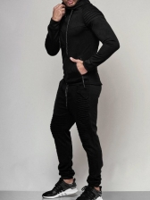 Solid Zipper Up Hoodies With Long Pants For Men