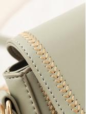 Metal Hasp Solid Color Small Shoulder Bags