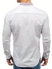 Casual Solid Turndown Collar Long Sleeve Shirts