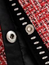 V Neck Multiple Pockets Tweed Coat For Women