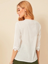 Hollow Out Petals Half Sleeve White T-shirt