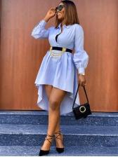 Turndown Collar Solid Irregular Hem Long Sleeve Dress