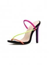 Summer Multicolored Belts Stiletto Heeled Sandals