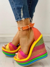 Roman Iridescent Peep-Toe Woven Wedge Sandals