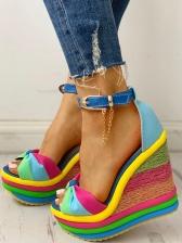 Roman Iridescent Peep-Toe Woven Wedge Sandals