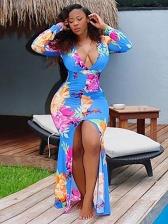 Contrast Color High Split Long Sleeve Maxi Dress