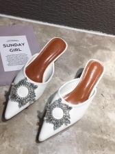 Pointed Toe Rhinestone Kitten Heel Mule Slippers