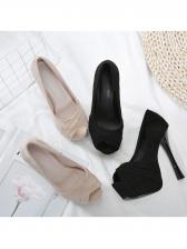 Peep-Toe Solid Color Suede Women Platform Heels