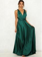 Solid V Neck Sleeveless Backless Prom Dress