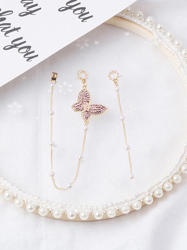 Fashion Butterfly Shape Rhinestone Patchwork Earrings
