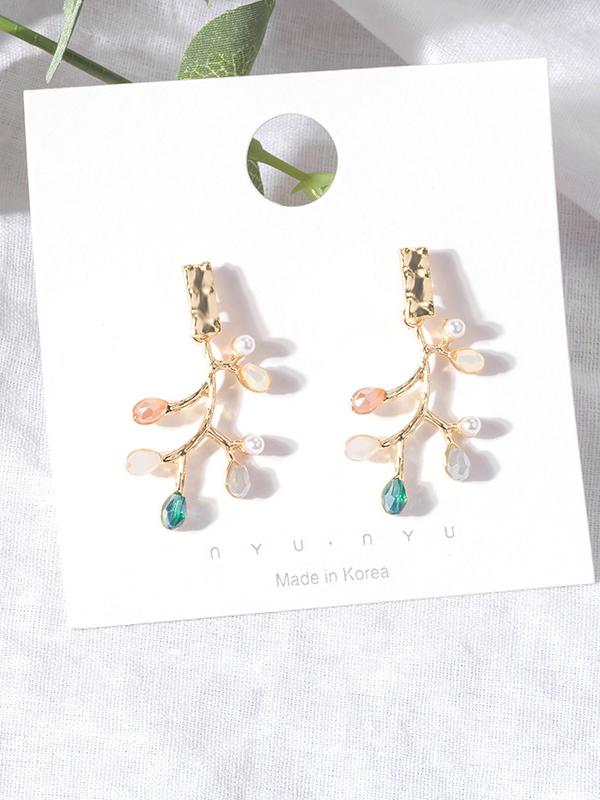 Creative Branch Shape Rhinestone Earrings
