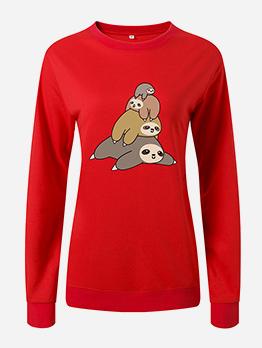 Lazy Bear Print Loose Long Sleeve Women Sweatshirts