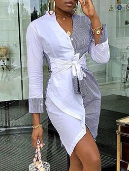 Euro Sexy Contrast Color Irregular Long Sleeve Dress
