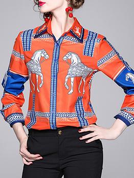 Easy Matching Horse Print Long Sleeve Women Blouses