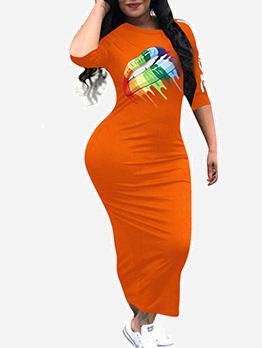 Multicolored Lip Printed Half Sleeve Maxi Dresses