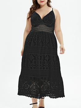 Plus Size Off Shoulder V Neck Lace Maxi Dress