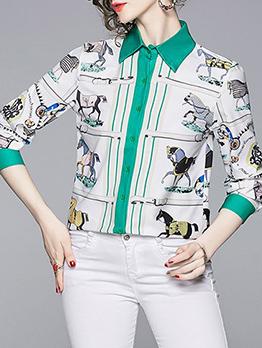 Turndwon Collar Animal Print Long Sleeve Blouses