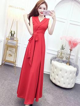 Simple Design Solid V Neck Sleeve Prom Dress