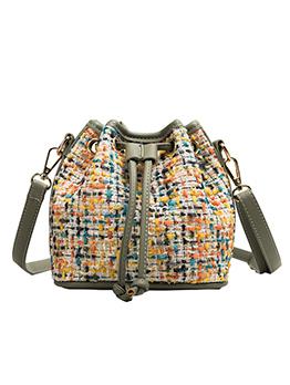 Colorful Contrast Color Woolen Bucket Bag For Women