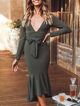 V Neck Tie-Wrap Ruffles Hem Long Sleeve Dress