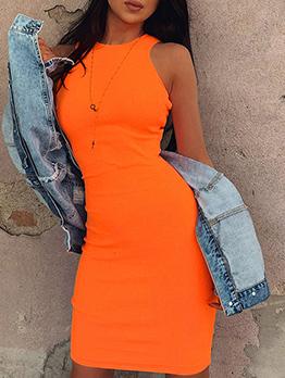 Bright Color Rib-Knit Sleeveless Bodycon Dress