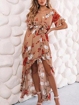 Sexy Low-cut Printed Ruffled Irregular Short Sleeve Maxi Dress
