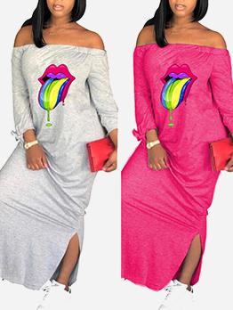 Off Shoulder Long Sleeve Printed Maxi Dresses