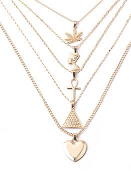 Stylish Heart Cross Shape Patchwork Necklaces