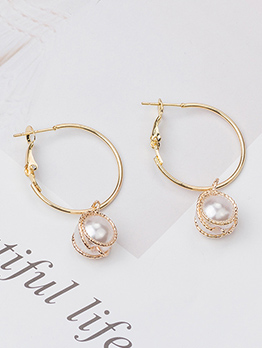 Fashion Pearl Patchwork Hoop Earrings