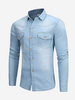 Casual Solid Long Sleeve Denim Shirts For Men