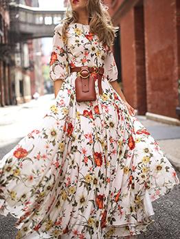 Bohemian Half Sleeve Wide Leg Printed Maxi Dresses