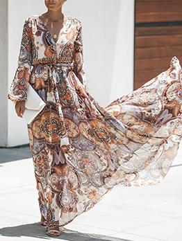 Bohemian Printed v Collar Long Sleeve Maxi Dresses