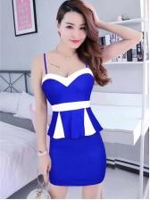 Night Club Contrast Color Ruffled Sleeve Dress
