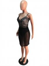 Hollow Out Gauze Spaghetti Strap Lace Dress