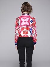 New Arrival Print Long Sleeve Polo Women Blouses