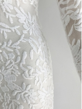 V Neck Perspective Embroidery Lace Maxi Dress