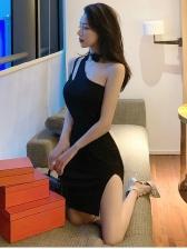 Off Shoulder Bodycon Black Dresses