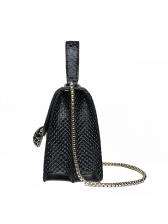 Snake Printed Crossbody Bag With Chain