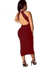 Sexy Backless Rhinestones Decor Sleeveless Dress