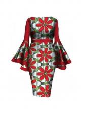 Stylish Flower Printed Flare Long Sleeve Dress