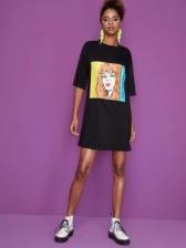 Cartoon Printed Casual Short Sleeve T-shirt Dress