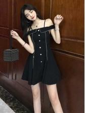 Off Shoulder Spaghetti Strap Black Dress