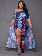Off Shoulder Short Sleeve Slit Printed Maxi Dresses