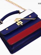 Mortise Lock Contrast Color Crossbody Bag
