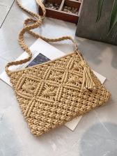 Tassel Decor Solid Straw Bag For Beach