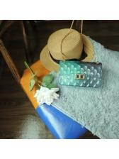 Gradient Color Rhombus Design Chain Crossbody Bag