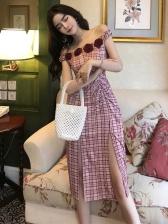 Off Shoulder High Waist Plaid Dress